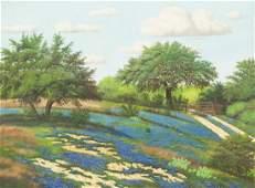 "MANUEL GARZA (TX, B.1940) BLUEBONNETS, 30"" x 40"""