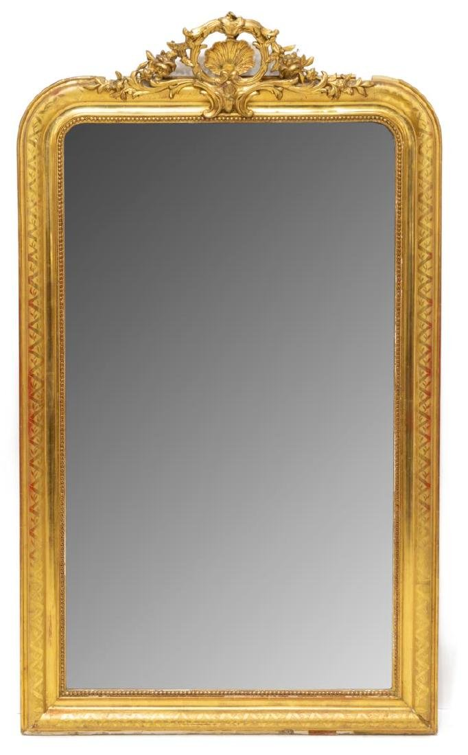FRENCH LOUIS XV STYLE CARVED GILTWOOD WALL MIRROR