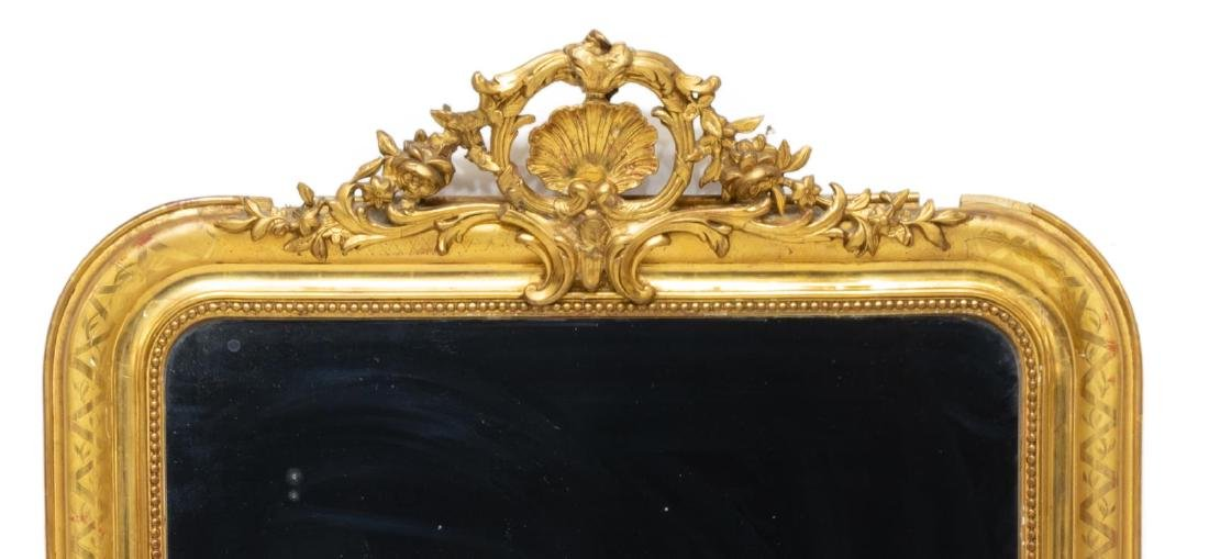 FRENCH LOUIS XV STYLE CARVED GILTWOOD WALL MIRROR - 3