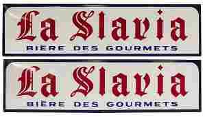 (2) LA SLAVIA BEER ENAMELED ADVERTISING SIGNS