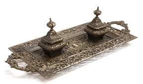 RENAISSANCE REVIVAL DOUBLE INKWELL DESK STAND