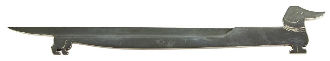 HERMES 925-950 SILVER DACHSHUND FORM LETTER OPENER - 2
