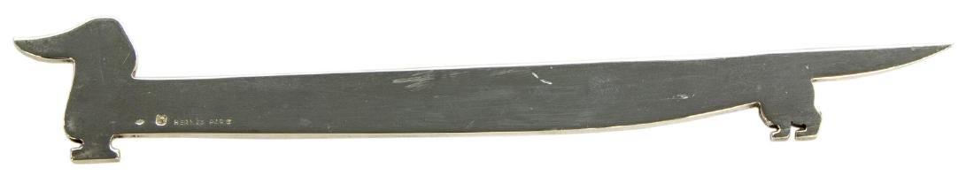 HERMES 925-950 SILVER DACHSHUND FORM LETTER OPENER - 3