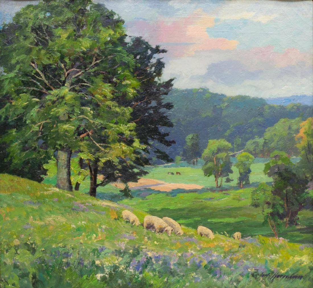 CARL HERMANN SHEEP PASTURE LANDSCAPE OIL PAINTING