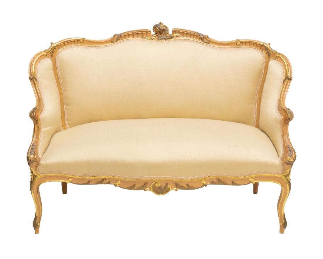 LOUIS XV STYLE CARVED & GILDED PARLOR SOFA - 2