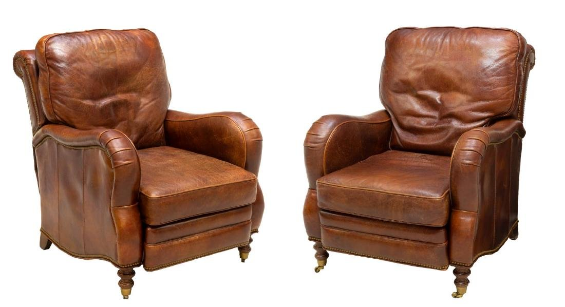 2) SHERRIL FURNITURE MOTIONCRAFT LEATHER RECLINERS
