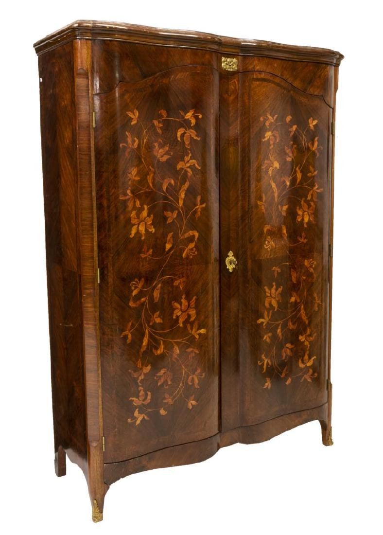 FRENCH ROSEWOOD FLORAL MARQUETRY ARMOIRE