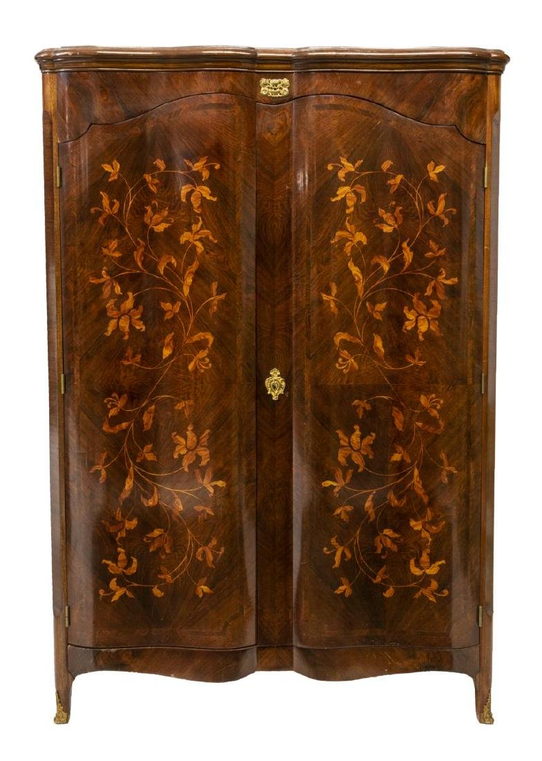 FRENCH ROSEWOOD FLORAL MARQUETRY ARMOIRE - 2