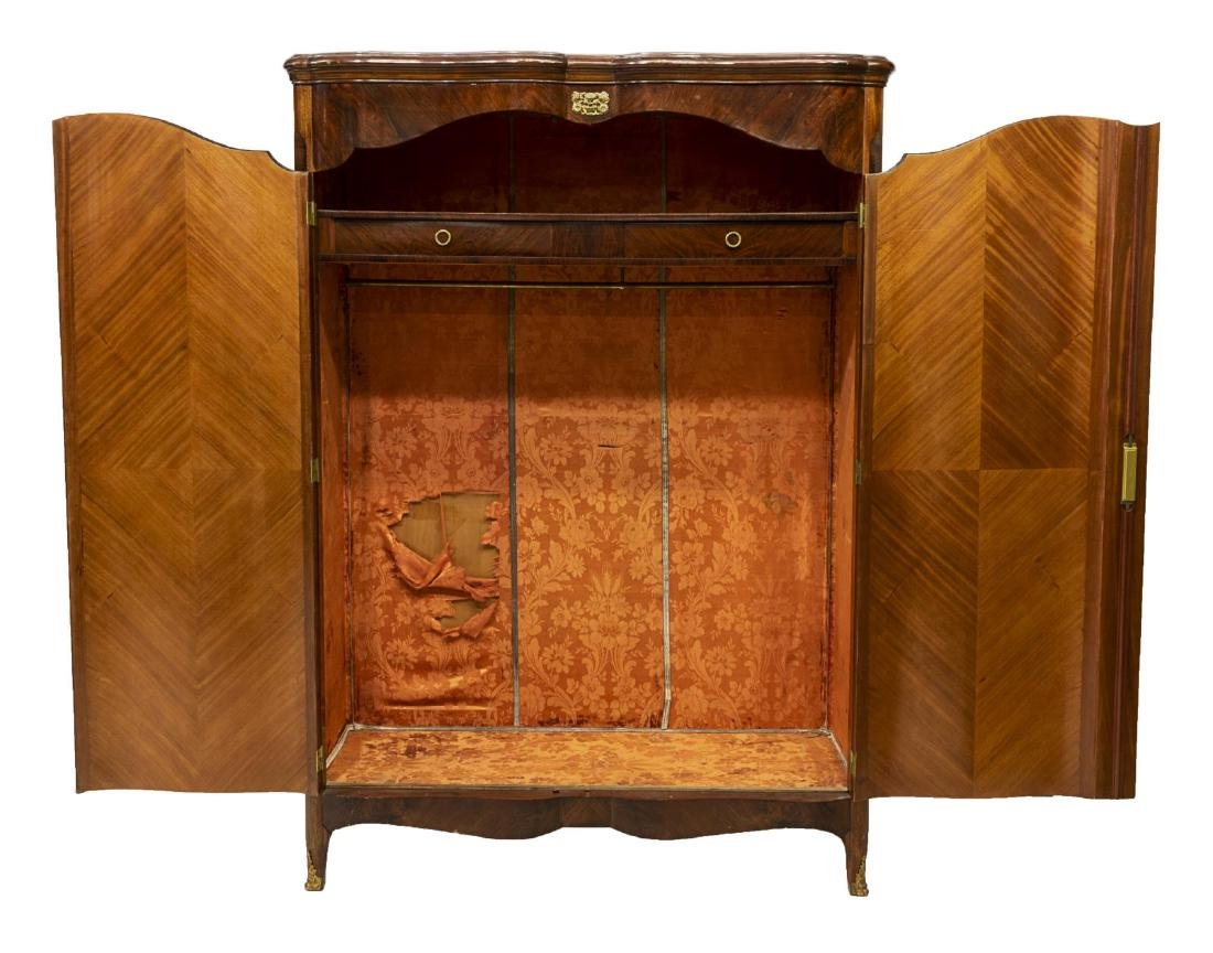 FRENCH ROSEWOOD FLORAL MARQUETRY ARMOIRE - 3