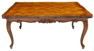 LOUIS XV STYLE PROVINCIAL WALNUT EXTENSION TABLE