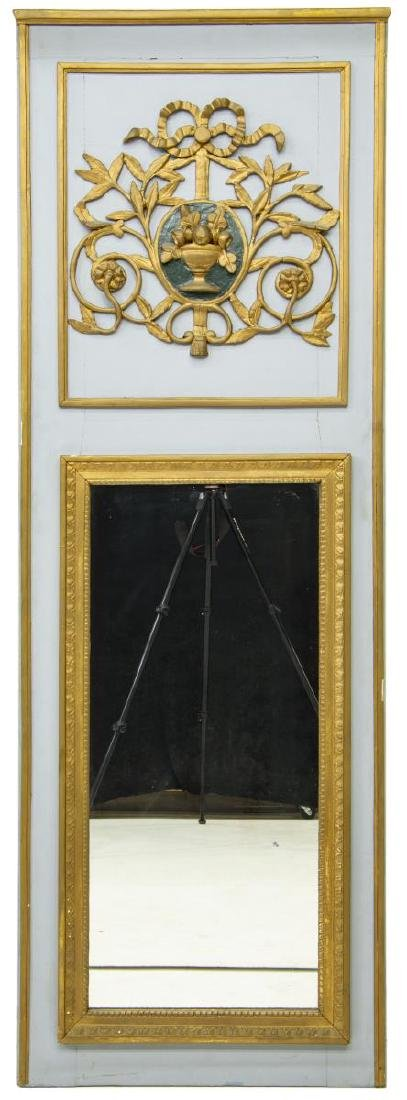 FRENCH TRUMEAU STYLE PAINTED GILTWOOD WALL MIRROR - 2