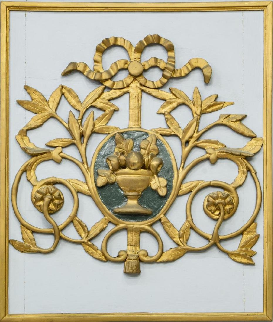 FRENCH TRUMEAU STYLE PAINTED GILTWOOD WALL MIRROR - 3