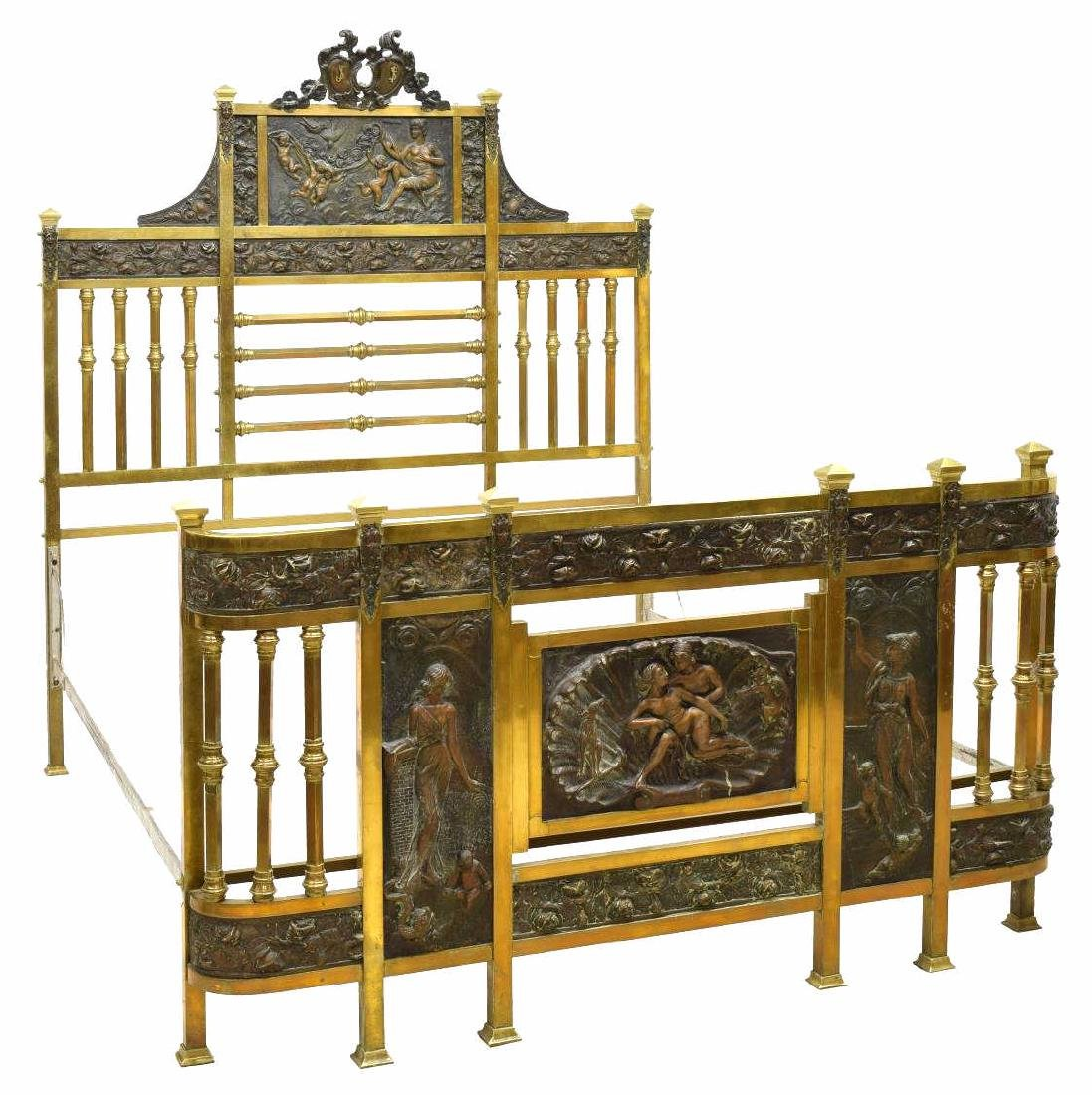 ITALIAN BRASS BED FRAME MOUNTED W/ BRONZE PLAQUES
