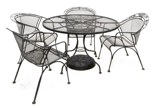 Pierced Black Wrought Iron Patio Set