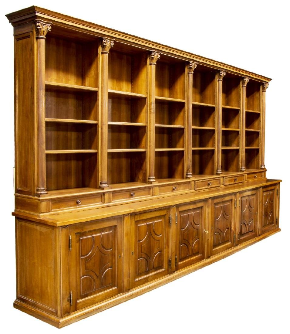 "MONUMENTAL TUSCAN STEPBACK BOOKCASE, 93""H, 161""W"