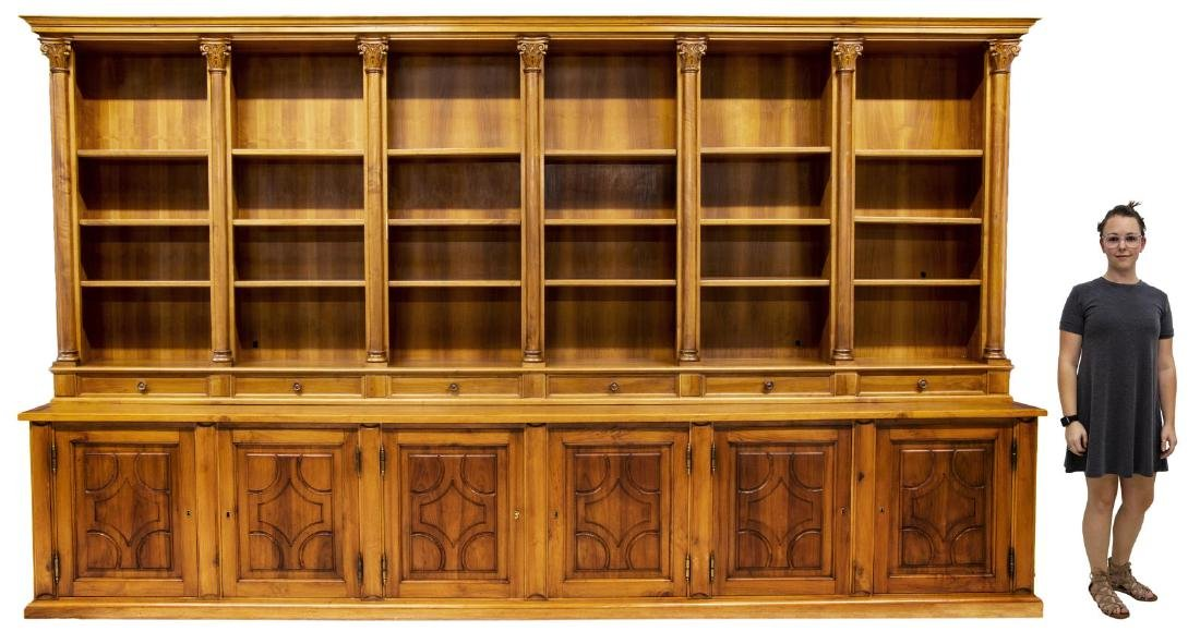 "MONUMENTAL TUSCAN STEPBACK BOOKCASE, 93""H, 161""W - 2"