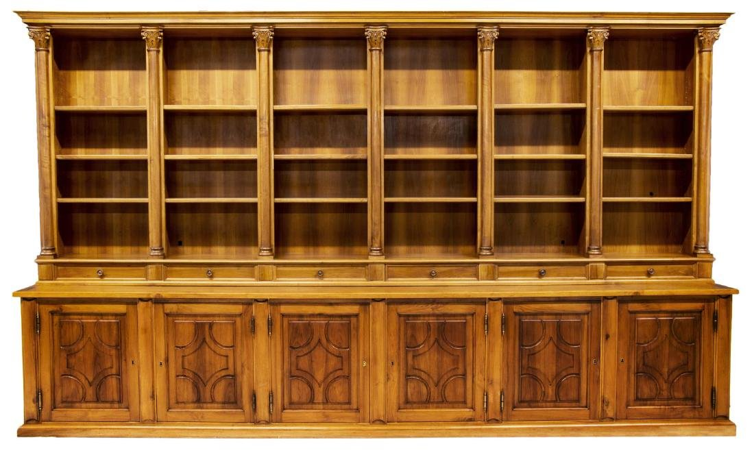 "MONUMENTAL TUSCAN STEPBACK BOOKCASE, 93""H, 161""W - 3"