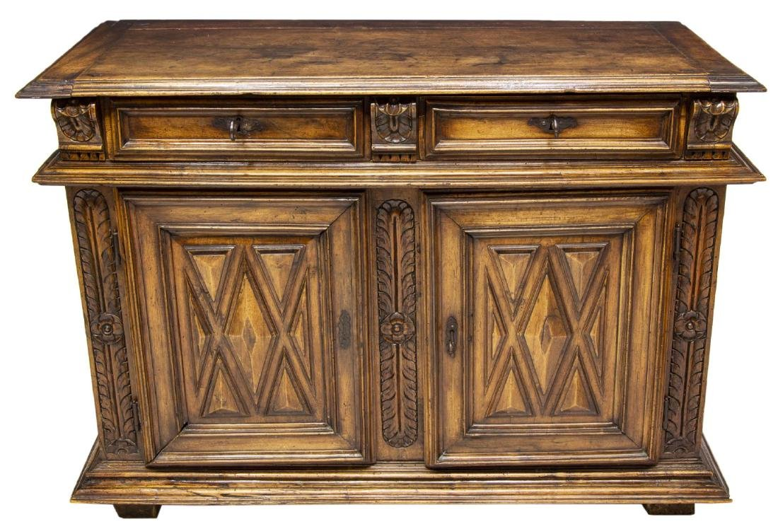 ANTIQUE SPANISH CARVED WALNUT SIDEBOARD - 2
