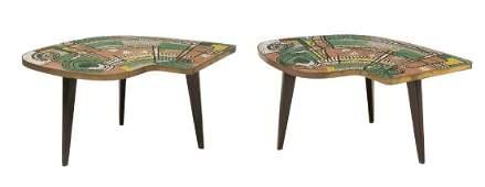 (2) MID-CENTURY MODERN MOSAIC TOP MODULAR TABLES