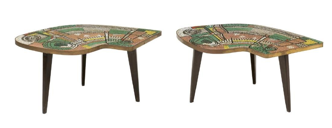 (2) MID CENTURY MODERN MOSAIC TOP MODULAR TABLES