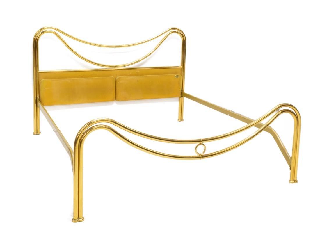 VINTAGE ITALIAN MODERN BRASS BED, SIGNED