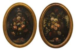 (2) LARGE OVAL FRAMED OIL PAINTINGS, FLORAL SPRAYS
