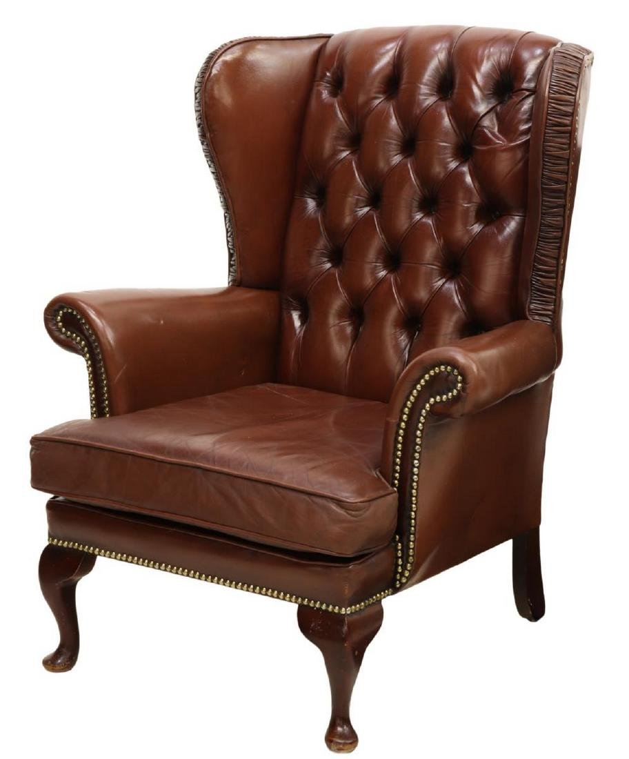 QUEEN ANNE STYLE LEATHER WINGBACK ARMCHAIR