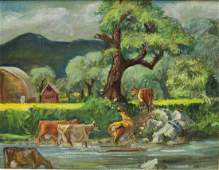 CECIL CROSLEY BELL (1906-1970) CATTLE OIL PAINTING