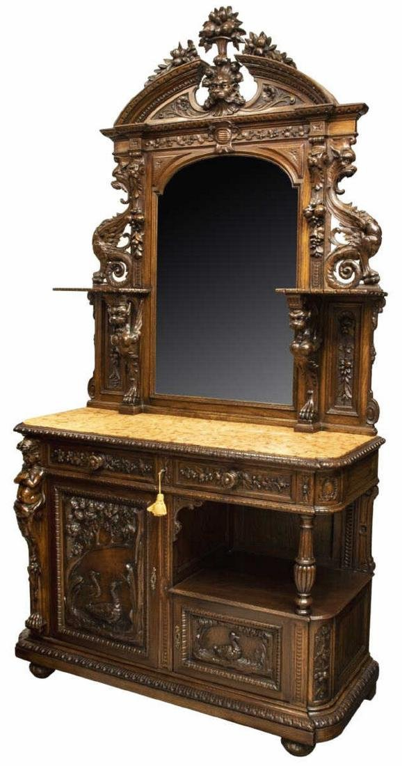 FRENCH CARVED OAK MIRRORED MARBLE TOP BUFFET