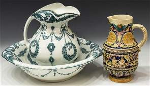 3ENGLISH PITCHER  BOWL  GERMAN DRINKING PITCHER