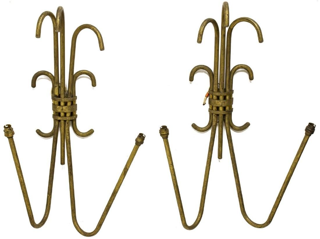 (PAIR) FRENCH MODERN GILT IRON 2-LT WALL SCONCES