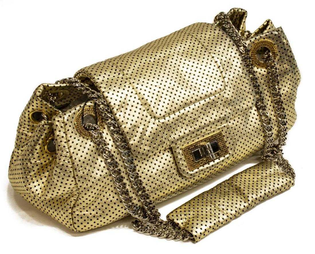481b0411aa4d2a CHANEL 'PERFORATED DRILL FLAP BAG' GOLD LEATHER