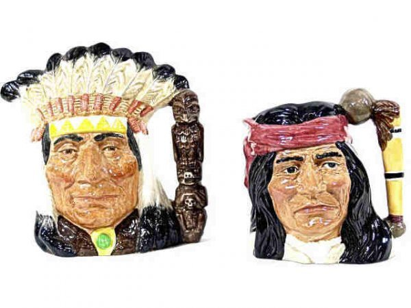 3: TWO LARGE ROYAL DOULTON CHARCTER TOBY MUGS INDIANS