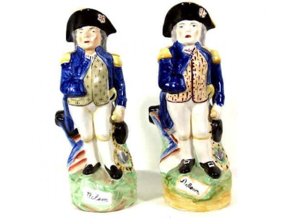 "19: TWO ENGLISH PORCELAIN ""LORD NELSON"" TOBY JUGS"