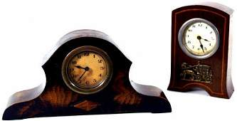 170 TWO ENGLISH MANTLE CLOCKS INLAID MAHOGANY