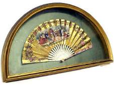 352: ORNATE ANTIQUE HAND PAINTED FAN SHADOWBOX FRAME