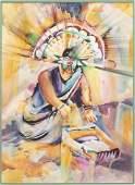 WARREN CULLAR (B.1942) INDIAN MOTHER WATERCOLOR
