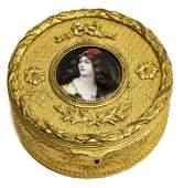 FRENCH ENAMELED PORTRAIT MINITURE GILT METAL BOX