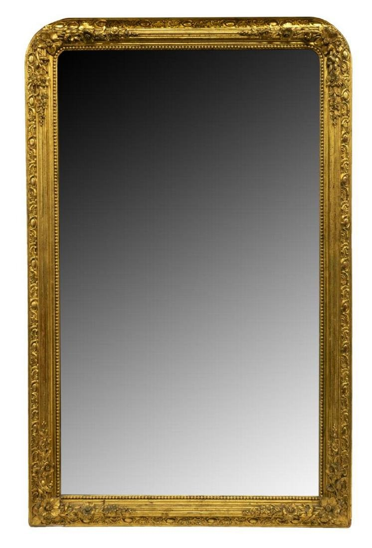 FRENCH CHARLES X STYLE GILTWOOD WALL MIRROR