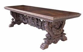 MONUMENTAL ITALIAN CARVED WALNUT REFECTORY TABLE