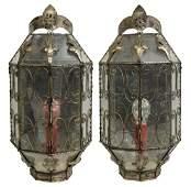 PR ITALIAN GLASS  METAL ONE LIGHT WALL SCONCES