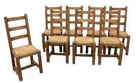 (8) RUSTIC FRENCH LADDER BACK RUSH SEAT CHAIRS