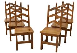 (6) RUSTIC FRENCH PINE LADDER BACK CHAIRS