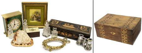 (LOT)CAMEO CONCH SHELL, INLAID BOXES, CLOCK & MORE