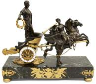 FRENCH GILT BRONZE CHARIOT & WINGED HORSES CLOCK