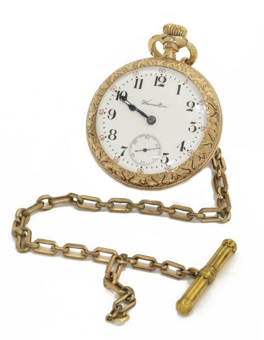 HAMILTON 21 JEWEL FANCY CASE POCKET WATCH