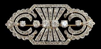 ART DECO PLATINUM TOPPED 18KT GLD  DIAMOND BROOCH