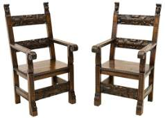 (2) FRENCH RENAISSANCE REVIVAL CARVED ARMCHAIRS