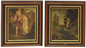 (2) FRAMED DECORATIVE NEOCLASSICAL PAINTINGS