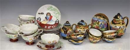 (35) JAPANESE SATSUMA STYLE PORCELAIN TEA SETS